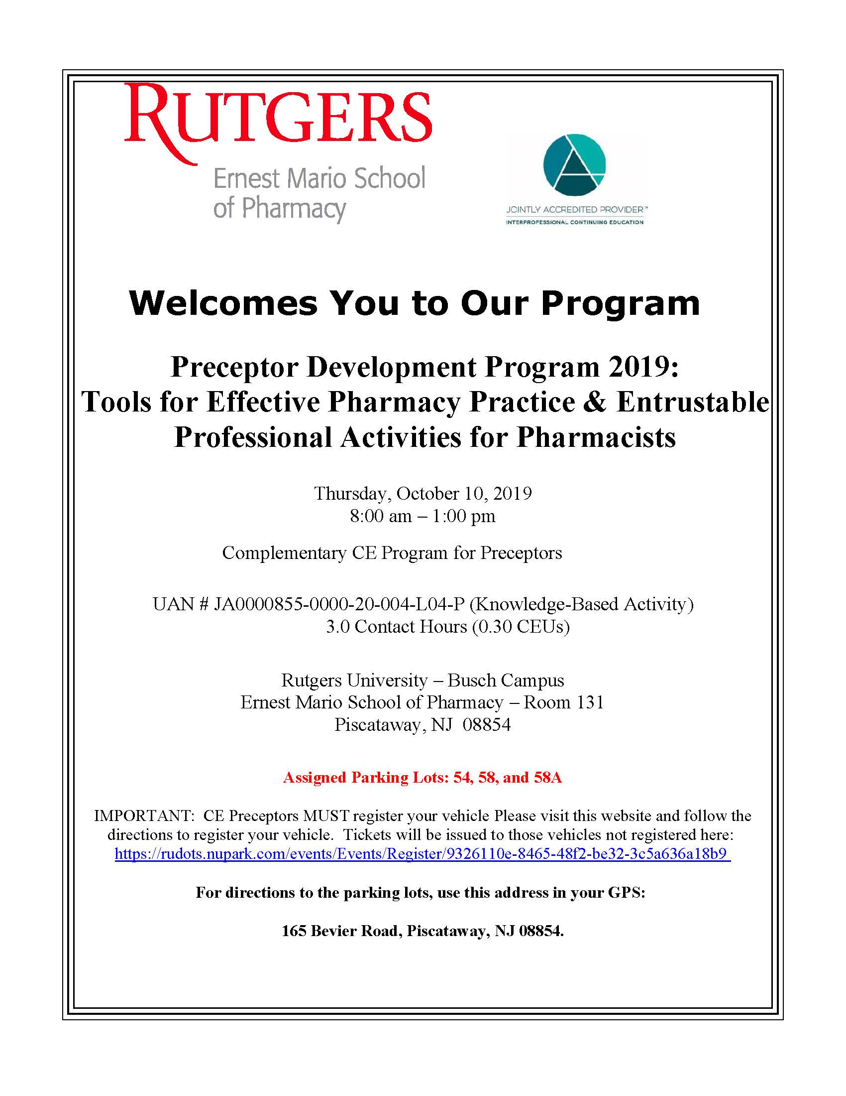Preceptor Development Program 2019:  Overview of Entrustable Professional Activities for Pharmacy Students & Tools for Effective Pharmacy Practice Banner