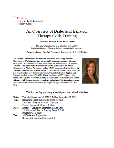 CCE: An Overview of Dialectical Behavioral Therapy Skills Training (September 26th & 27th 2019) Banner