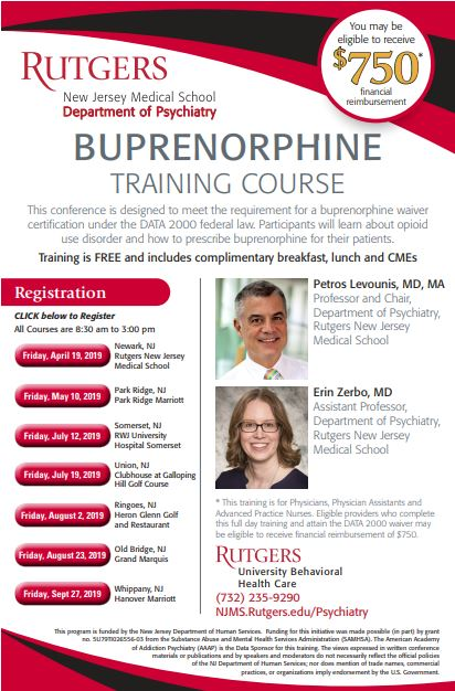 TAC: Buprenorphine Training - Whippany, NJ 9.27.19 Banner
